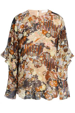 CHLOÉ Metallic fil coupé printed silk blouse