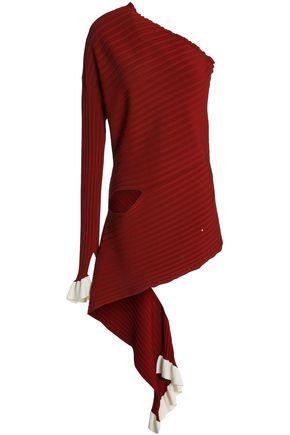 ESTEBAN CORTAZAR One-shoulder cutout stretch-knit top