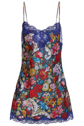 MARQUES' ALMEIDA Lace-trimmed floral-print jacquard-twill mini dress