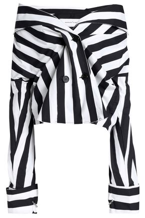 MARQUES' ALMEIDA Off-the-shoulder double-breasted striped cotton-poplin top