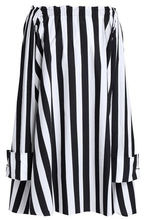 MARQUES' ALMEIDA Off-the-shoulder striped cotton-poplin mini dress