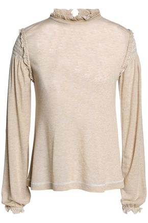 SEE BY CHLOÉ Smocked ruffle-trimmed jersey top