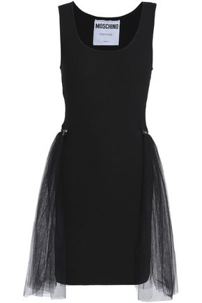 MOSCHINO Layered tulle and ribbed wool mini dress