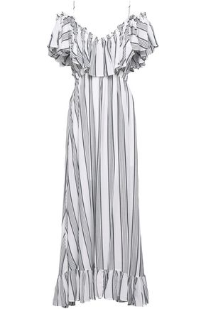 TART COLLECTIONS_FAKE BRAND Cold-shoulder ruffled woven maxi dress
