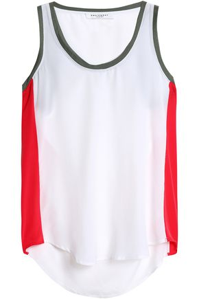 EQUIPMENT Mel color-block washed-silk tank