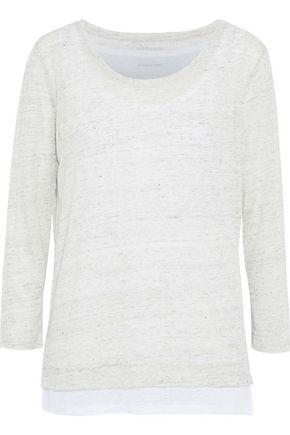 MAJESTIC FILATURES Layered marled slub linen-jersey top
