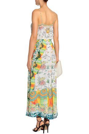 CAMILLA Sundowners embellished printed silk wrap maxi dress