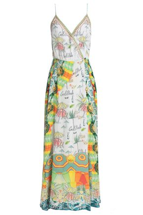 CAMILLA Sundowners embellished printed silk wrap maxi dress