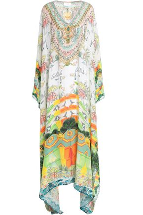 CAMILLA Embellished printed crepe de chine maxi dress