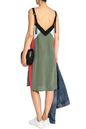EQUIPMENT Color-block silk crepe de chine dress