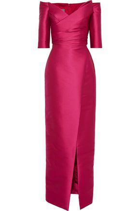 MONIQUE LHUILLIER Off-the-shoulder ruched duchesse-satin gown