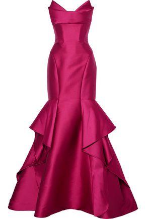 MONIQUE LHUILLIER Strapless ruffled duchesse-satin gown