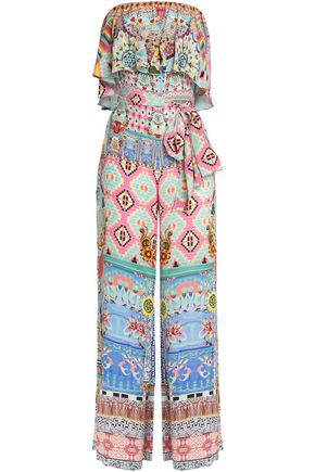 CAMILLA Meet Me Here strapless embellished printed silk crepe de chine jumpsuit