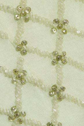MONIQUE LHUILLIER Tie-neck embellished silk-chiffon gown