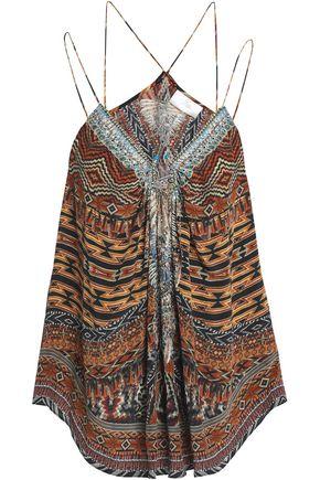 CAMILLA Dawn of Time embellished printed silk top