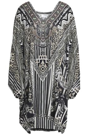 CAMILLA Tribal Theory embellished printed stretch-jersey mini dress