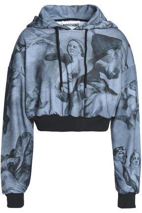 MOSCHINO Cropped printed jersey hooded sweatshirt