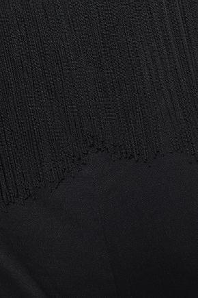 RACHEL ZOE Cropped lace-trimmed crepe satin jumpsuit