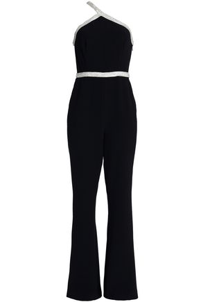 RACHEL ZOE Lucy one-shoulder bead-embellished crepe jumpsuit