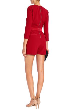 RACHEL ZOE Holland wrap-effect satin-paneled crepe playsuit