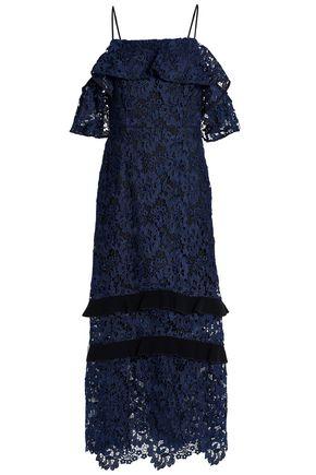 RACHEL ZOE Cold-shoulder velvet-trimmed ruffled guipure lace midi dress