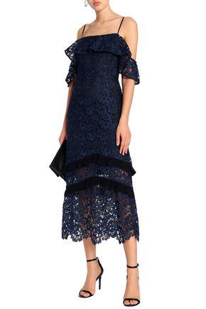 RACHEL ZOE Poppy cold-shoulder ruffled guipure lace midi dress