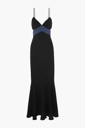 RACHEL ZOE Marissa cutout two-tone crepe gown