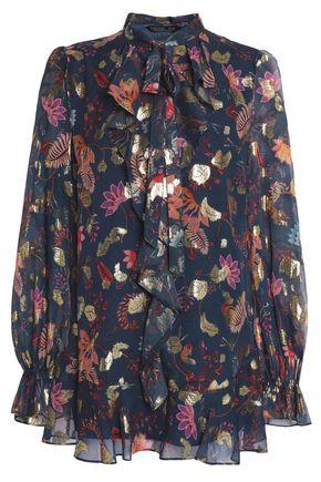 RACHEL ZOE Metallic ruffled silk-blend georgette blouse