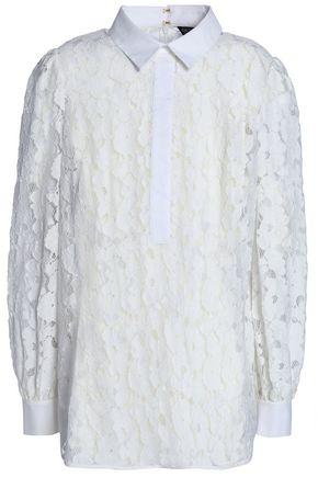 RACHEL ZOE Nicola poplin-trimmed guipure lace blouse