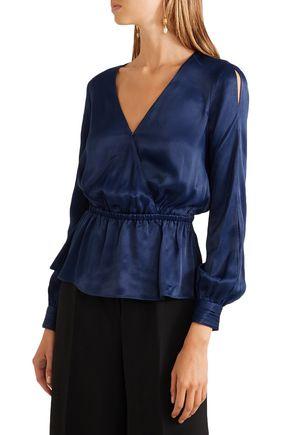 RACHEL ZOE Noel wrap-effect satin peplum blouse