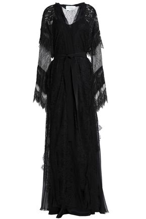 ALBERTA FERRETTI Lace and tulle-paneled silk-georgette gown