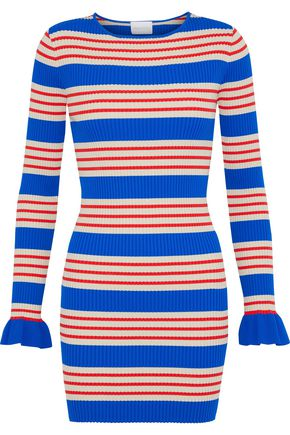 ALICE McCALL My Girl striped metallic ribbed-knit mini dress