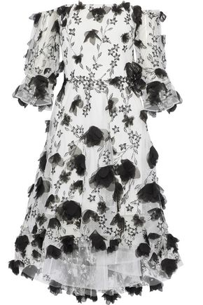 MARCHESA NOTTE Off-the-shoulder floral-appliquéd embroidered tulle dress