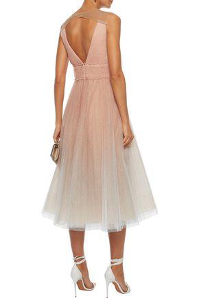 MARCHESA NOTTE Pleated glittered dégradé tulle midi dress