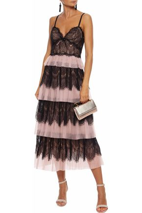MARCHESA NOTTE Tiered paneled lace and plissé-tulle midi dress