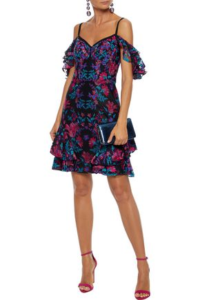 MARCHESA NOTTE Cold-shoulder embroidered tulle and crepe mini dress