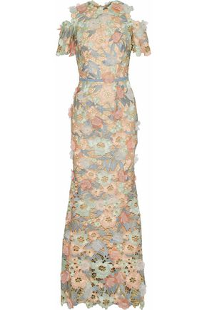 MARCHESA NOTTE Cold-shoulder floral-appliquéd metallic guipure lace gown