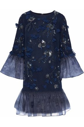 MARCHESA NOTTE Organza-paneled embellished tulle mini dress