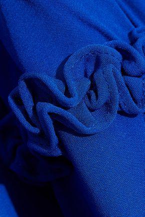 MARCHESA NOTTE Cape-back pleated silk-chiffon gown