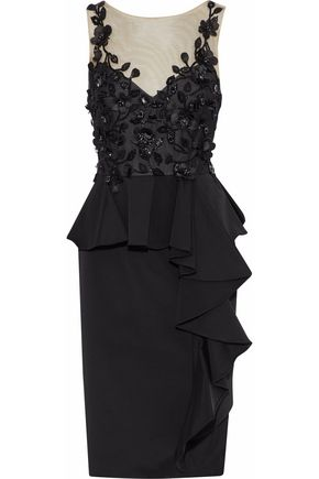 MARCHESA NOTTE Embellished tulle and ruffled faille peplum dress
