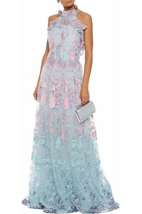 MARCHESA NOTTE Lace-trimmed embroidered tulle gown