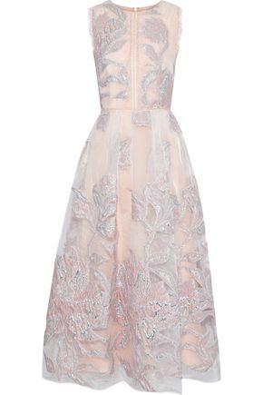 MARCHESA NOTTE Lace-trimmed metallic fil coupé organza gown