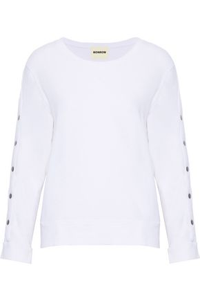 MONROW Snap-detailed cotton and Tencel-blend terry sweatshirt
