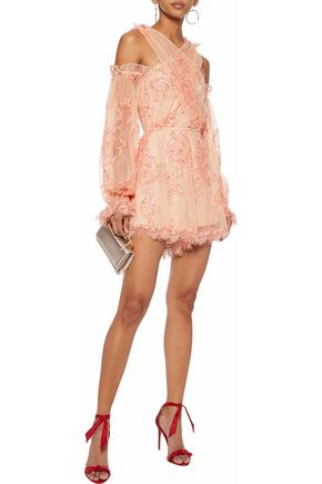 7fa74aac4a0 ALICE McCALL That s A Wrap cold-shoulder lace playsuit