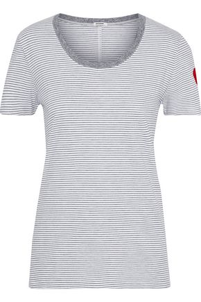 MONROW Embroidered striped cotton-blend jersey T-shirt
