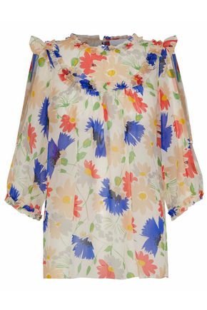 ALICE McCALL Diamond Eyes cutout floral-print silk-georgette blouse