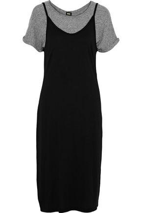 MONROW Layered cotton and modal-blend jersey dress