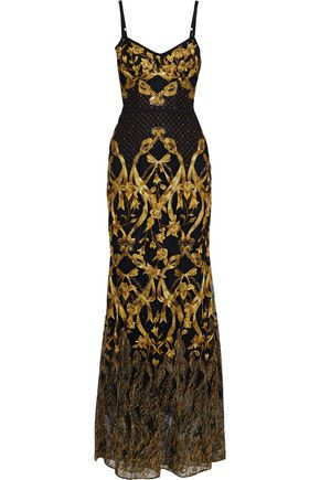 MARCHESA NOTTE Sequin-embellished metallic embroidered tulle gown