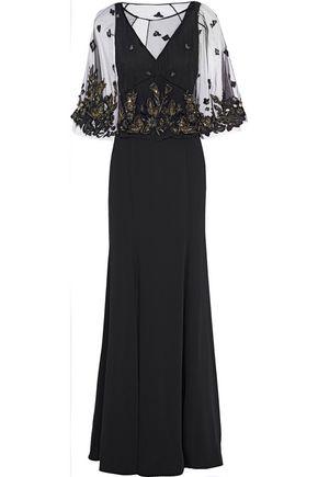 MARCHESA NOTTE レイヤード 装飾付き チュール&ジャージー ロングドレス