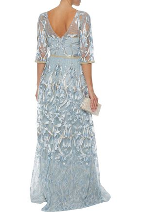 fc07343d493 ... MARCHESA NOTTE Sequin-embellished metallic embroidered tulle gown